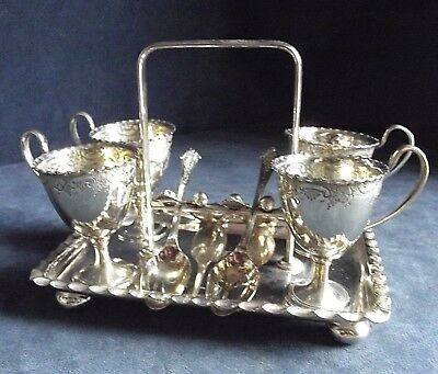 GOOD ~ SILVER Plated ~ Family CRESTED ~ 9 Piece EGG Cup SET ~ c1900 by Nixon
