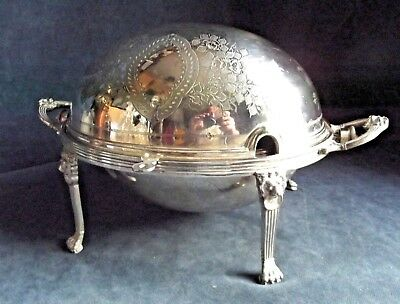 "GOOD Large 14"" ~ SILVER Plated ~ Rollover SERVING Dish ~ c1900 by Walker & Hall"