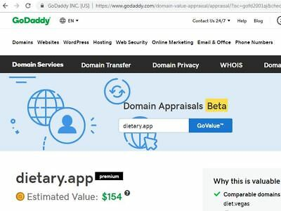 Dietary dot APP Domain Name Present GoDaddy value $154.00