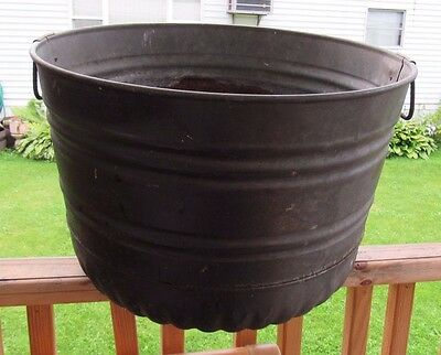 Vintage Galvanized Fireplace Feed Coal / Ash Flower/water Bucket Pail Can