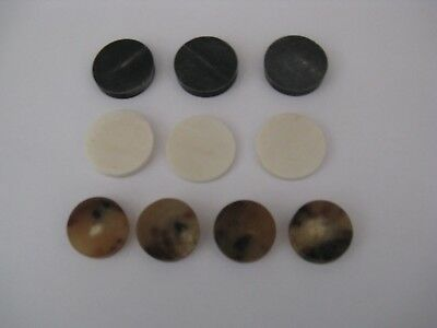 10 Mixed Horn Spacers For Stickmaking 3 Black Buffalo Horn, 3 White Bone,4 Straw