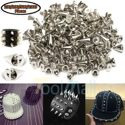 1000X 10mm Silver Spots Cone Screw Metal Studs Leather craft Rivet Bullet Spikes