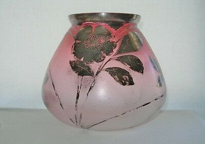 INTENSELY Gorgeous ART NOUVEAU Ice Texture Glass VASE HAND PAINTED Silver RUBINA