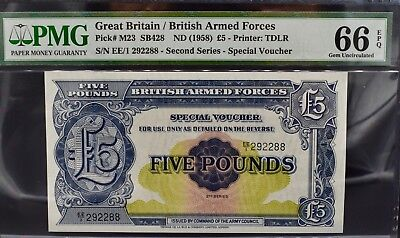 BRITISH MILITARY/ARMED FORCES £5 NOTE VOUCHER PMG 66 GEM Uncirculated 1958 Pound