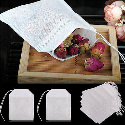100x non-woven Empty Teabags String Heat Seal Filter Paper Herb Tea Bags S*