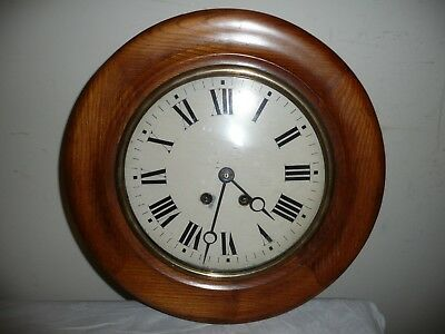 Antique, School / Station Wall Clock in Very Good Condition, Convex Glass.