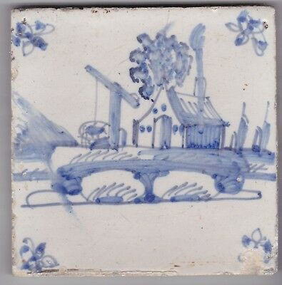 Delft Tile c. 18th / 19th century   (D 145)       cottage with well