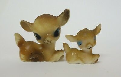 Vintage Miniature Deer Fawn Figurine Set Of 2 Hong Kong Hard Plastic Christmas