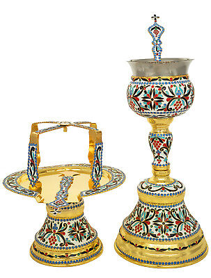 Orthodox Christian Byzantine Church Divine Enamel 5 piece chalice set Russian
