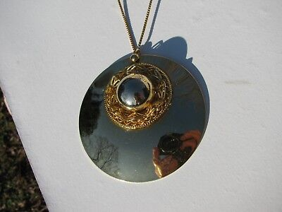 Vtg. Korea Domed Medallion Pendant Disk Filigree Shiny Gold Tone Metal Necklace