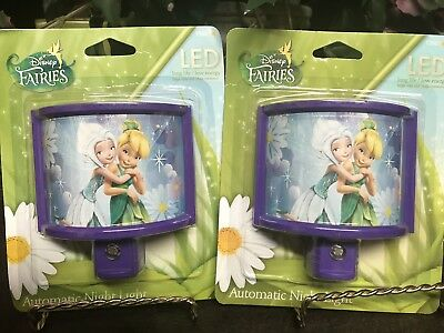 Lot Of 2 Disney Faries LED Automatic Night Light New