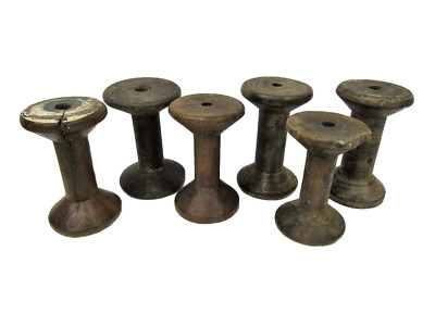 "Lot of 6 Antique Vintage 3"" Plain Wooden Industrial Textile Bobbins Spools"