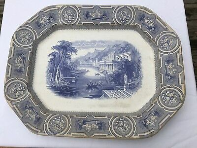 Antique Transferware Staffordshire Huge Platter Wedgwood California Flow Blue