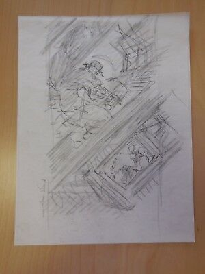 Original Mike Kaluta Preliminary Sketch for Shadow Comic   Original Art