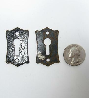 Pair Antique Skeleton Key Hole Escutcheon Steel Plate Flat Black VTG Old