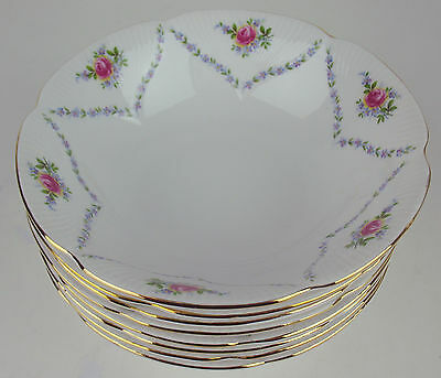Set 8 x Soup Cereal Bowls Royal Albert Minuet vintage bone china England