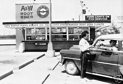 """5x7"""" photo A&W ROOT BEER DINER BURGER JOINT 50'S CARHOP MAMA PAPA BABY BURGERS"""