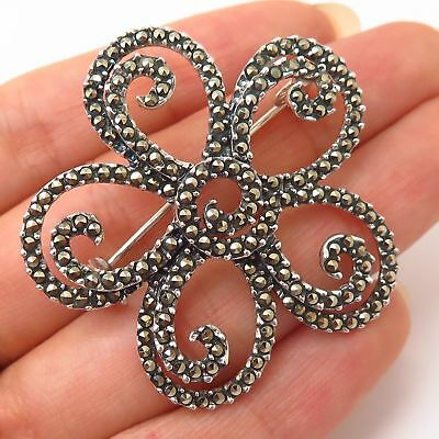 925 Sterling Silver Vintage Real Marcasite Gemstone Floral Pin Brooch
