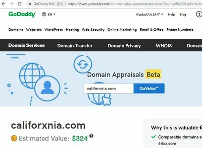 CALIFORxNIA™ > dot com registered Domain Present GoDaddy value $324.00
