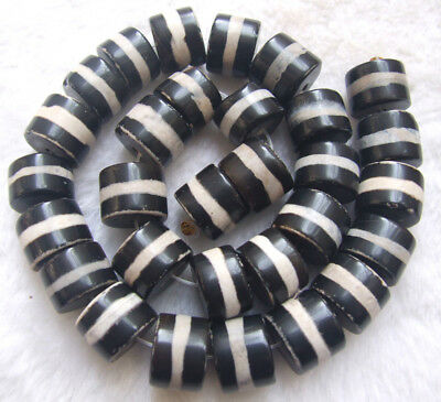 """Black white Agate Rondelle Loose Beads 12x16mm 14"""""""