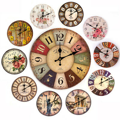 Creative European Style Round Retro Rustic Wooden Artistic Wall Clock 21 Types