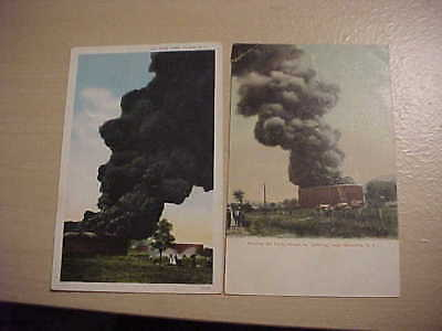 2 vintage posrcards 1930s Oil Tank Fires Socony, Olean & Sinclair, Wellsville,NY