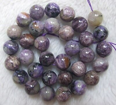6mm 8mm 10mm 12mm Natural Charoite Round Loose Beads 15.5""