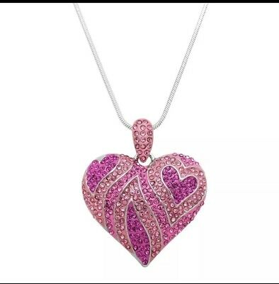 Valentines Day Love Hot Pink Light Pink Heart Rhinestone Necklace