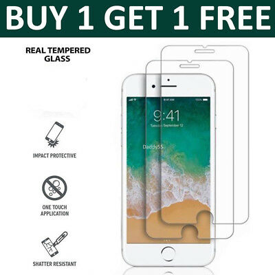 100% Genuine Tempered Glass Screen Cover Protector for Apple iPhone 6/6S Plus