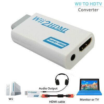 Wii to HDMI Converter 3.5mm 1080P HD Upscaling Adapter Wii2HDMI Audio Output