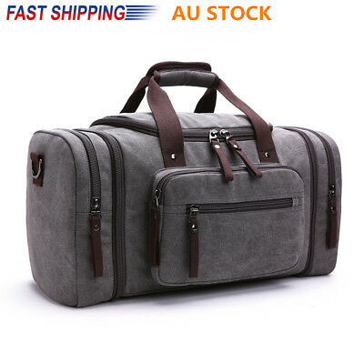 Vintage Men Women Canvas Luggage Duffle Bag Gym Handbag Travel Overnight Tote