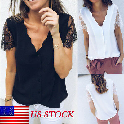 Women Office Ladies Summer Chiffon Short Sleeve Casual Shirt Tops Blouse T-Shirt