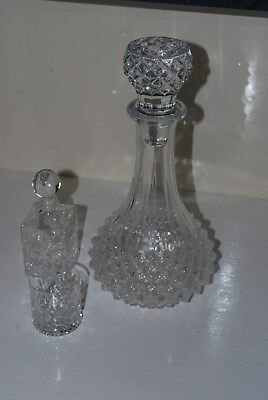 Antique Vintage Glass Crystal Decanter Set Whiskey Sherry Brandy Decanter