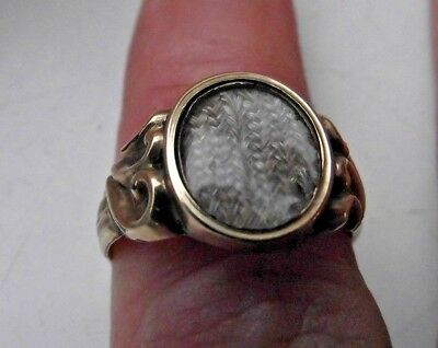 1863 Victorian 9Ct 9K 375 Gold Fully Hallmarked Mourning Ring Woven Hair Glass