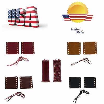"""Universal Leather Motorcycle Hand Grip 7//8/"""" 1/"""" Handlebars Throttle Cover Wraps"""