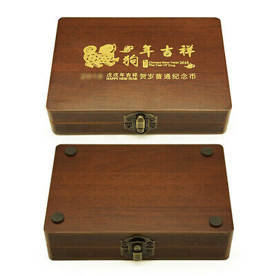 5 Coins Wood Case Display Box Wooden Storage Holder Collection Round Capsule Use