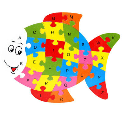 Wooden ABC Alphabet Jigsaw Fish Puzzle Children Kids Educational Learning