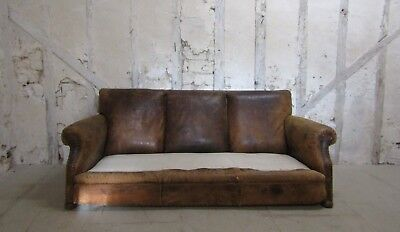 Vintage French Leather Club Sofa, Antique