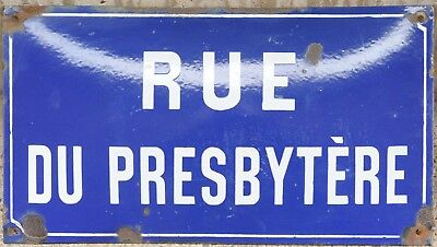 Old blue French enamel street sign plaque plate name Presbytery priest's house