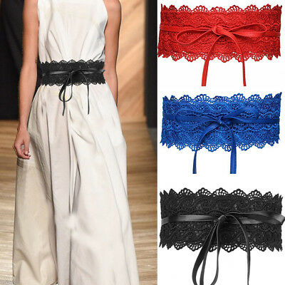 Women's Ultra Wide Cummerbunds Decorative Waist Belts Elastics Lace Stretchable