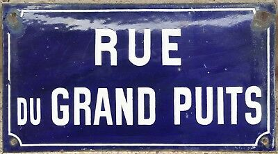 Old blue French enamel street sign plaque plate Grand Puits pits wells Marigny