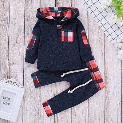 Toddler Baby Girls Boys Hooded Tops Pullover Plaid Pants Set Outfits Tracksuit