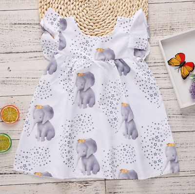 Toddler Baby Girls Elephant Ruffle Mini Dress Summer Casual Party Clothes 3-24M