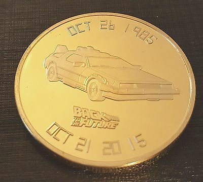 Back to the Future Gold Coin Delorean Car Time Travel Marty McFly 80s Retro USA
