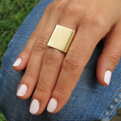 Women Creative Gold Silver Plated Square Finger Ring Fashion Jewelry Trinket S