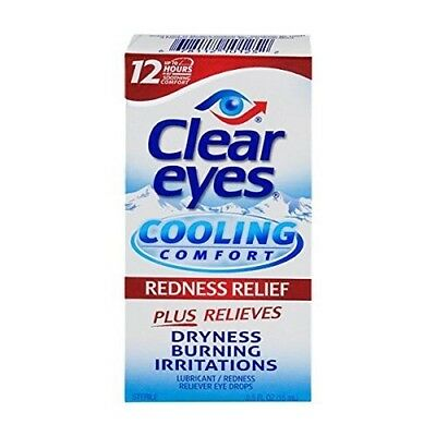 5 Boxes - Clear Eyes Cooling Comfort - Redness Relief Eye Drops - 0.5 Fl. Oz. Ea