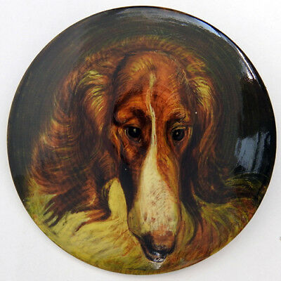Russian Wolfhound Borzoi Hand Painted Lacquer Brooch Pin #401