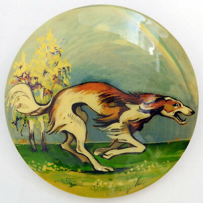 Russian Wolfhound Borzoi Hand Painted Lacquer Brooch Pin #404