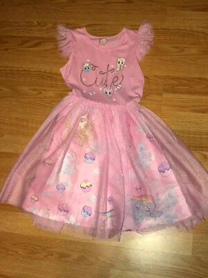Girls Adorable My Little Pony & Cupcakes Pink Sparkle Dress Size 10/12 New!