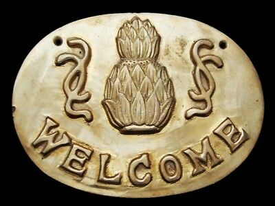 LG25169 OVERSIZED VINTAGE 1970s *WELCOME TO HAWAII* SOLID BRASS SOUVENIR BUCKLE
